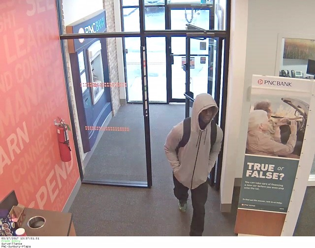 Blendon Twp. Police are looking for this man who robbed the PNC Bank  Sunbury Rd in Westerville. (Courtesy: Blendon Twp. Police)