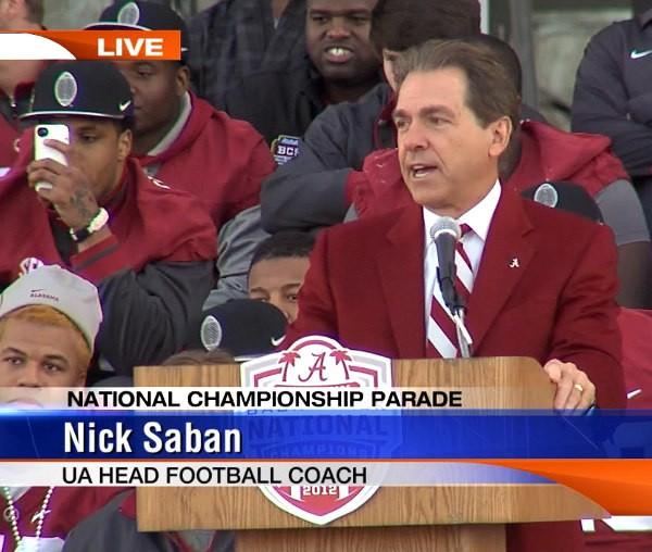 Alabama head coach Nick Saban spoke to thousands of fans outside Bryant-Denny Stadium during the BCS National Championship celebration on Saturday, January 19, 2013.