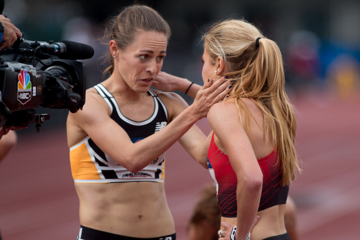 Jenny Simspon and Sara Sutherland share a moment after the semi-final of the 1500m. Photo by Dillon Vibes