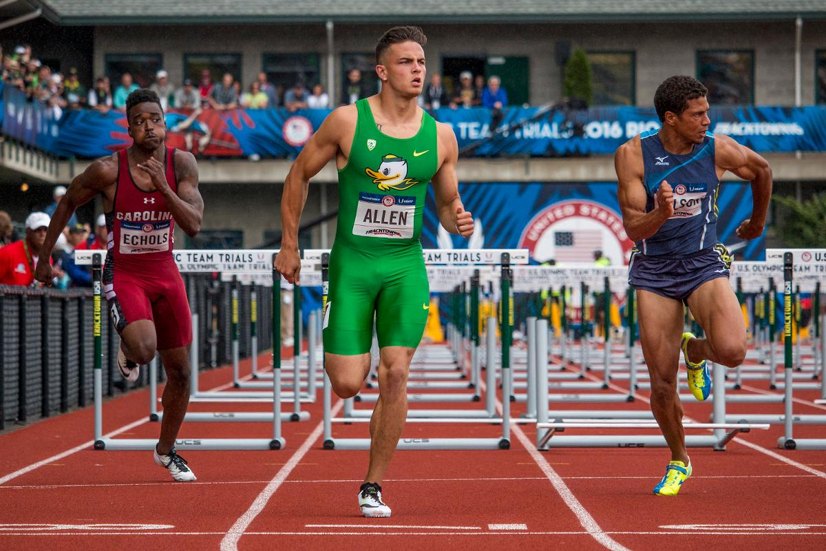 South Carolina Gamecock Dondre Echols, Oregon Duck Devon Allen, and Ryan Wilson compete in the prelims of the men�s 110 meter hurdles. Day Eight of the U.S. Olympic Trials Track and Field continued on Friday at Hayward Field in Eugene, Ore. and will continue through July 10. Photo by Katie Pietzold