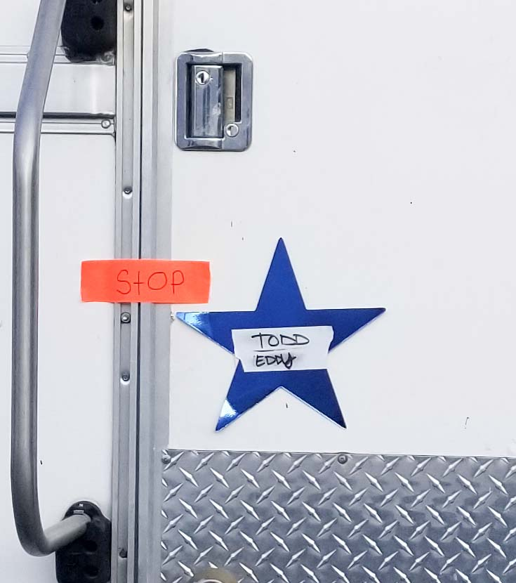 When he wasn't on the set competing, K9 Eddy was able to relax in this trailer on set, complete with a blue star with his name and partner Todd Thompson's on the door! Photo via Mitch Talley.