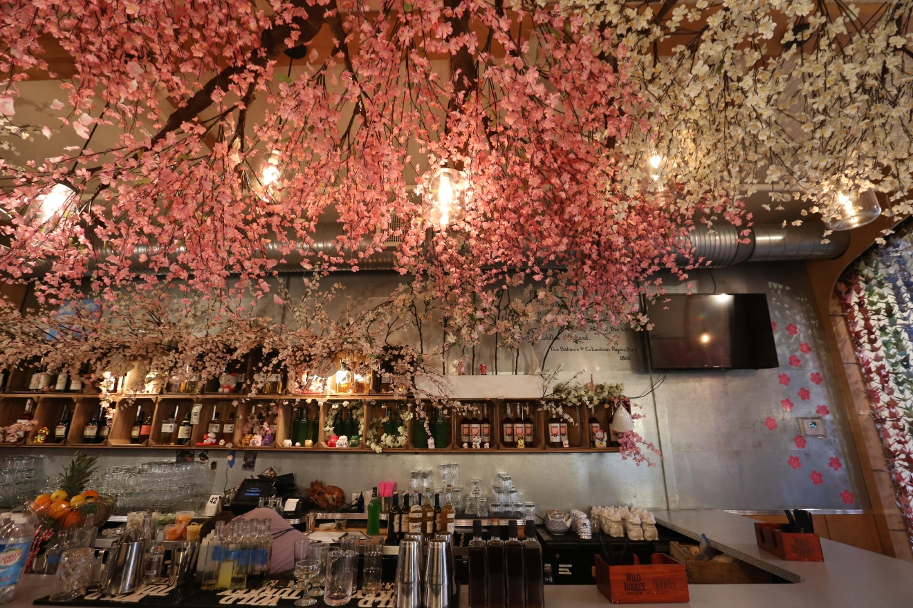 The cherry blossoms are a little early this year, but Southern Efficiency's decor is just in time. The sherry-forward bar in Shaw wowed crowds during the holidays with its goats-in-sweaters themed pop-up, but this display is even prettier. Although the pop-up is temporary, it might take some of the pressure off of the cherry trees near the Tidal Basin. (Amanda Andrade-Rhoades/DC Refined)