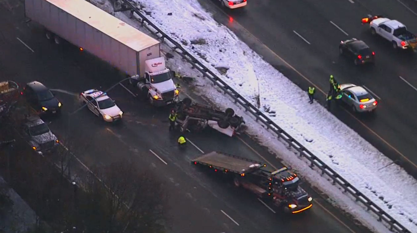 Two tractor trailers and a pickup truck have been involved on I-495 near Old Georgetown Road.{ } Wednesday, Jan. 16, 2019. (SkyTrak7){ }