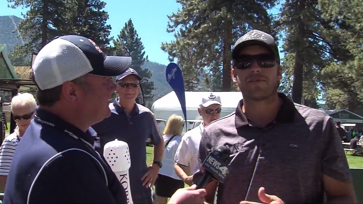 News 4's Bryan Samudio talks to Olympic skier Bode Miller at the American Century Championship on July 21, 2016 (Sinclair Broadcast Group)