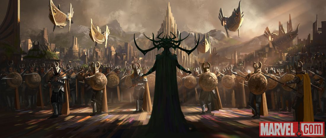 "Marvel Studios has released concept art from ""Thor: Ragnarok"" depicting the villain Hela, to be played by Cate Blanchett. (Marvel Studios)"
