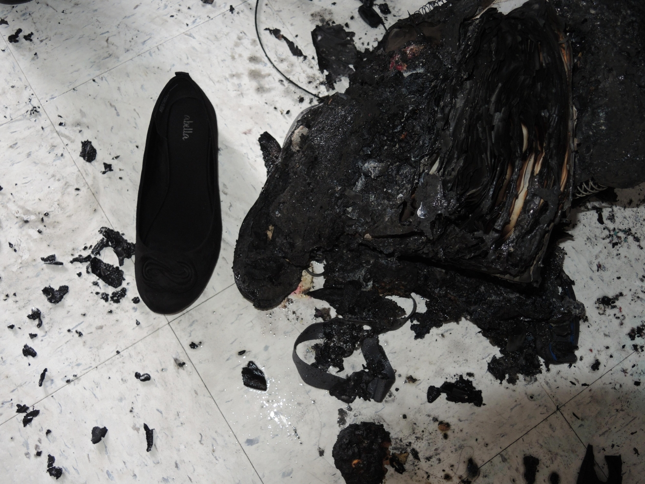 A student's shoes after experiment went wrong. (Photo: Virginia Occupational Safety and Health)