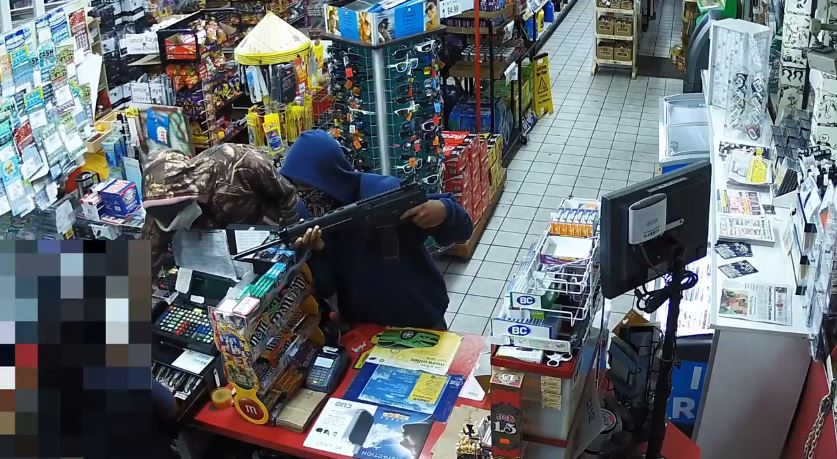 Surveillance video showed an armed robbery that happened Tuesday night at the BP gas station on Highway 76 near Francis Marion University in Florence, according to a news release from the Florence County Sheriff's Office. (FCSO)