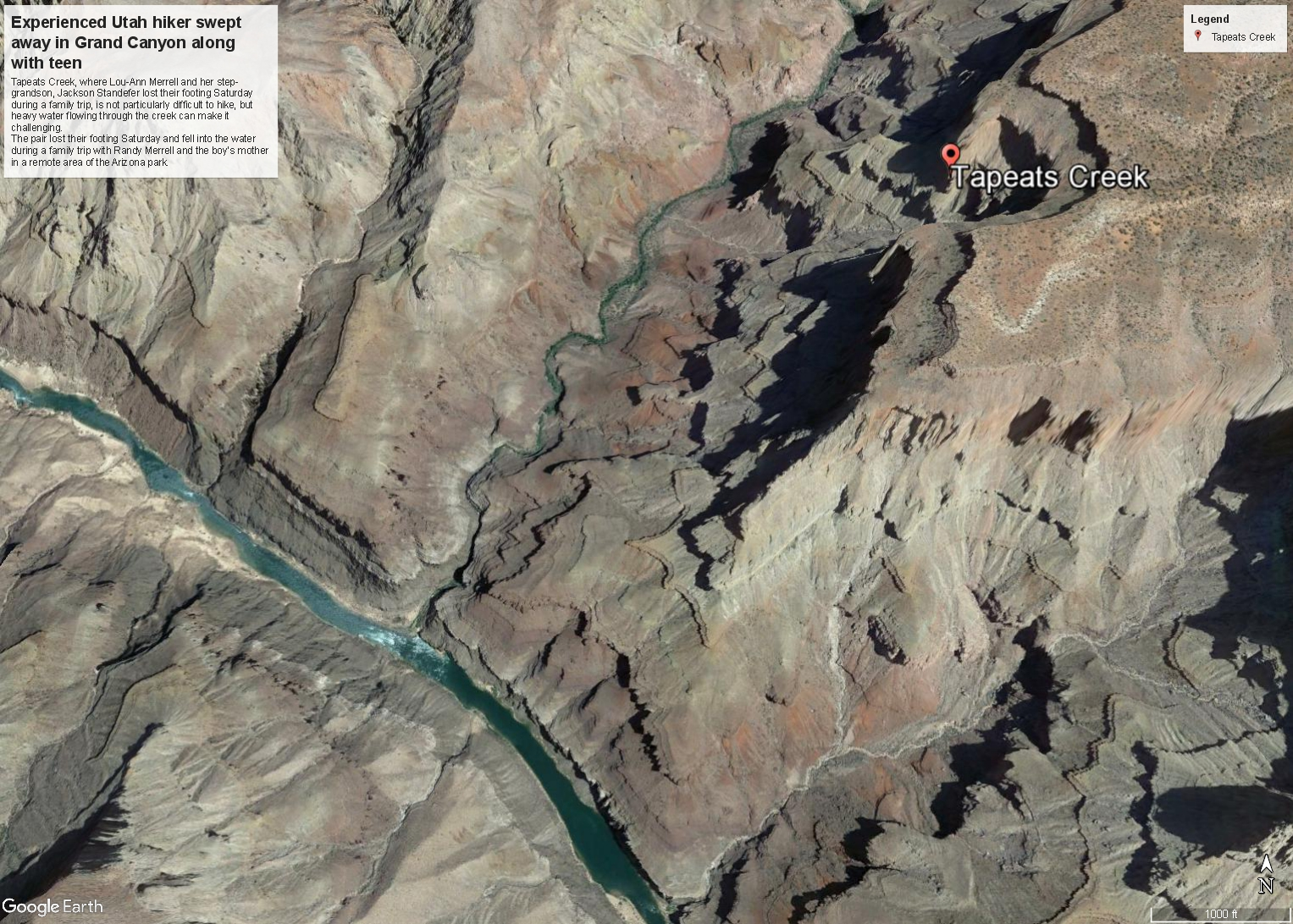 Merrell footwear founder's wife, step-grandson still missing in Grand Canyon. (Photo: Google Earth Pro)