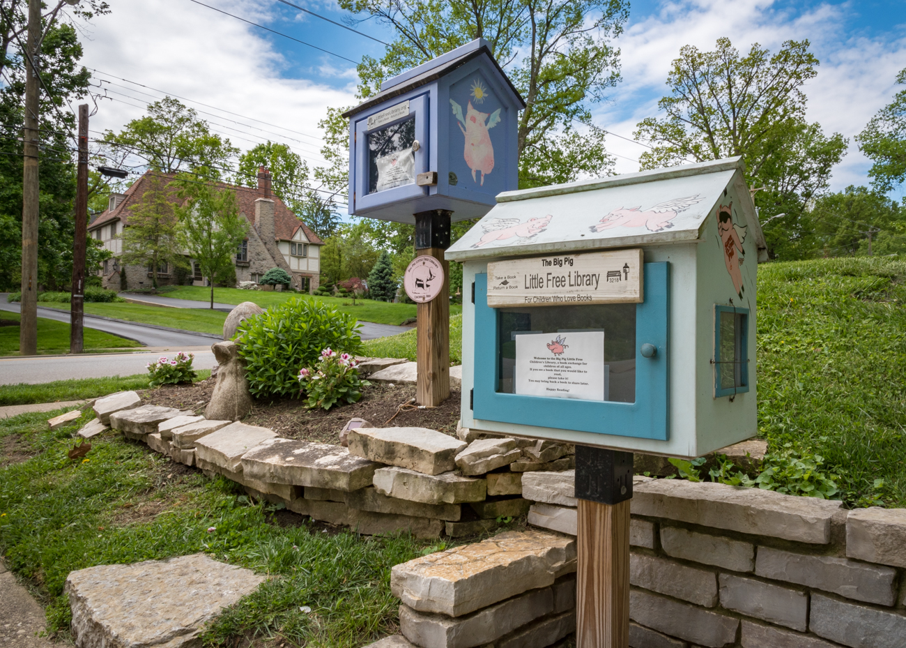 LOCATION: The corner of Observatory and Burch Avenues in Hyde Park / ADDRESS: 2552 Observatory Avenue (45208) / FUN FACT: There are two free libraries in one spot! The tall one is for adults and the short one is for children. / IMAGE: Phil Armstrong, Cincinnati Refined // PUBLISHED: 5.3.17