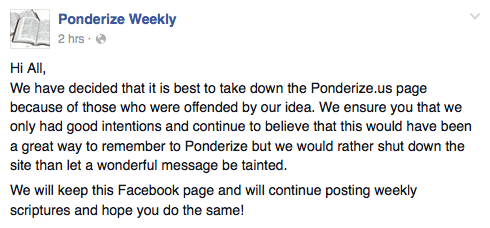 The website – ponderize.us – disappeared Sunday night Oct. 4, 2015 after online backlash and accusations of using a religious occasion for personal gain. (Screenshot from Ponderize Weekly Facebook page