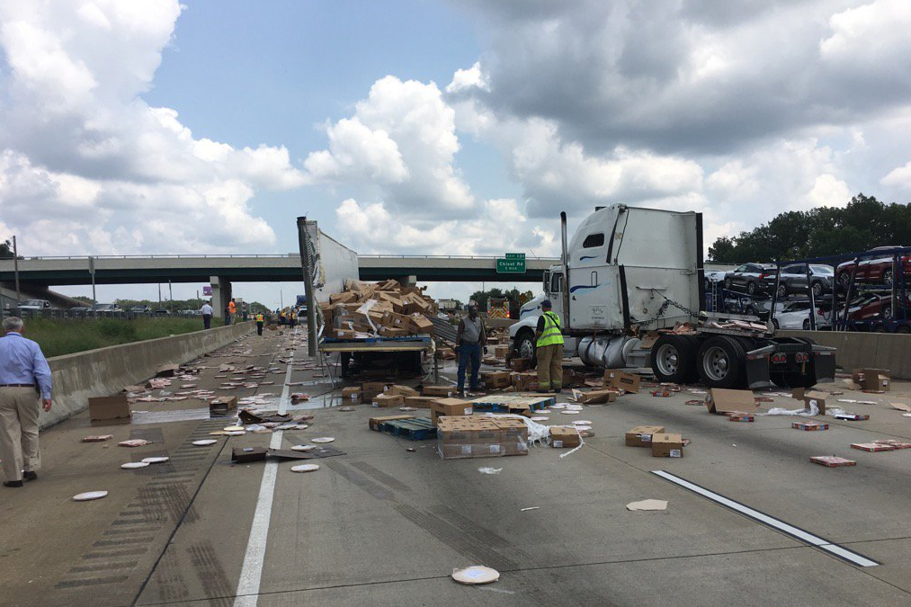 All westbound lanes and the eastbound inside and middle lanes were closed as crews worked to clean-up the area. (Photo courtesy: Arkansas Dept. of Transportation)