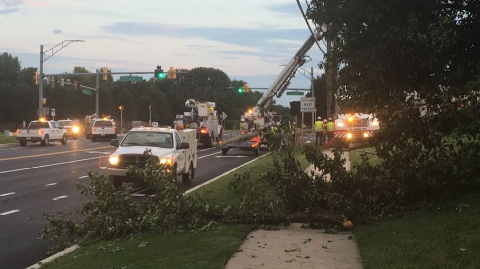 microburst downs trees knocks out traffic lights in md
