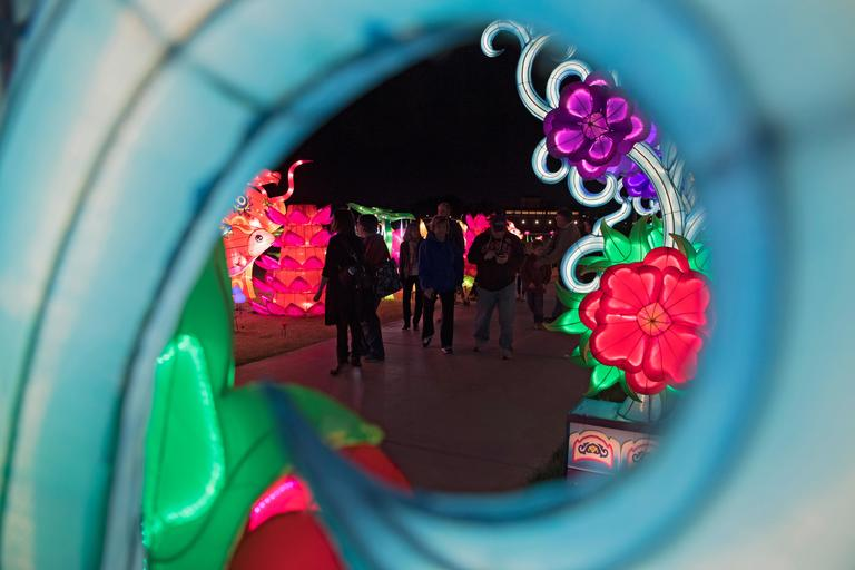 People examine some of the many lanterns on the opening night of the China Lights lantern festival Friday, January 19, 2018, at Craig Ranch Regional Park in North Las Vegas. The festival, which features nearly 50 silk and LED light displays comprised of over 1000 elements, runs through February 25th. CREDIT: Sam Morris/Las Vegas News Bureau