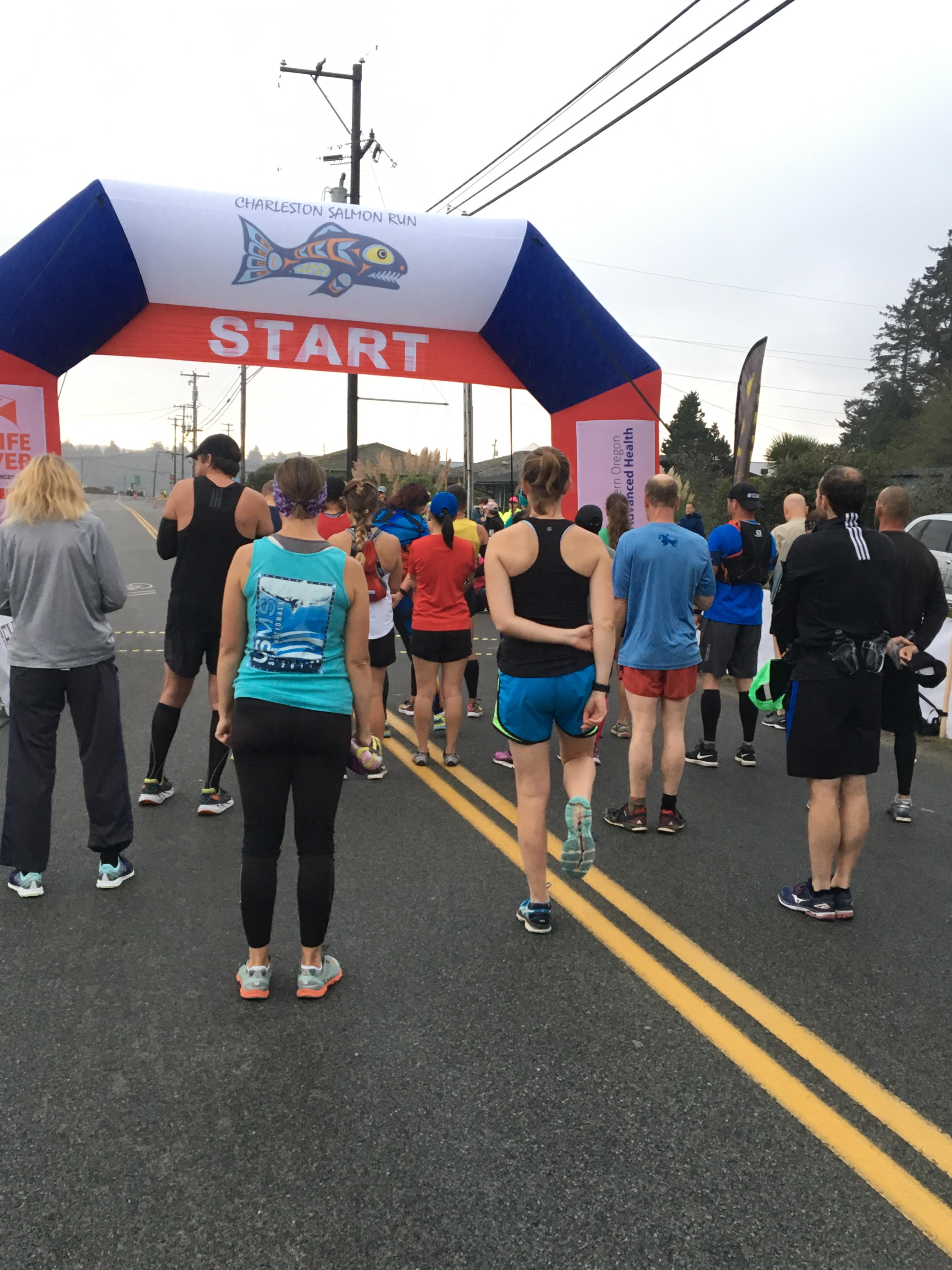 Dedicated runners woke up at the crack of dawn Saturday to take on the first marathon in Coos County, Oct. 8, 2017. (SBG)