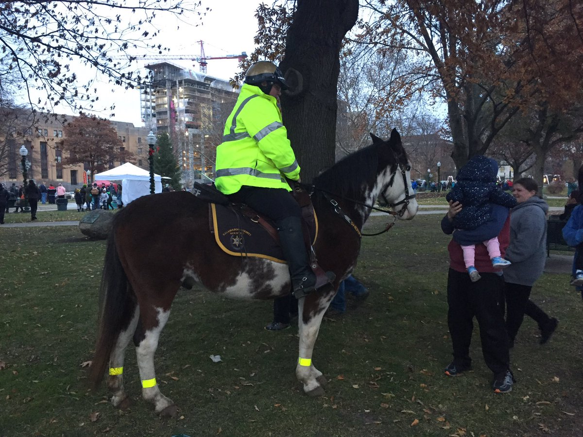 Kalamazoo County's mounted  police were at the park for the tree-lighting festival Friday, Nov. 23, 2018. (WWMT/Anna Giles)