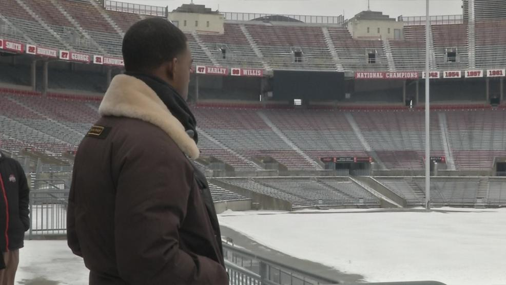 Actor Stephan James at Ohio Stadium (WSYX/WTTE)