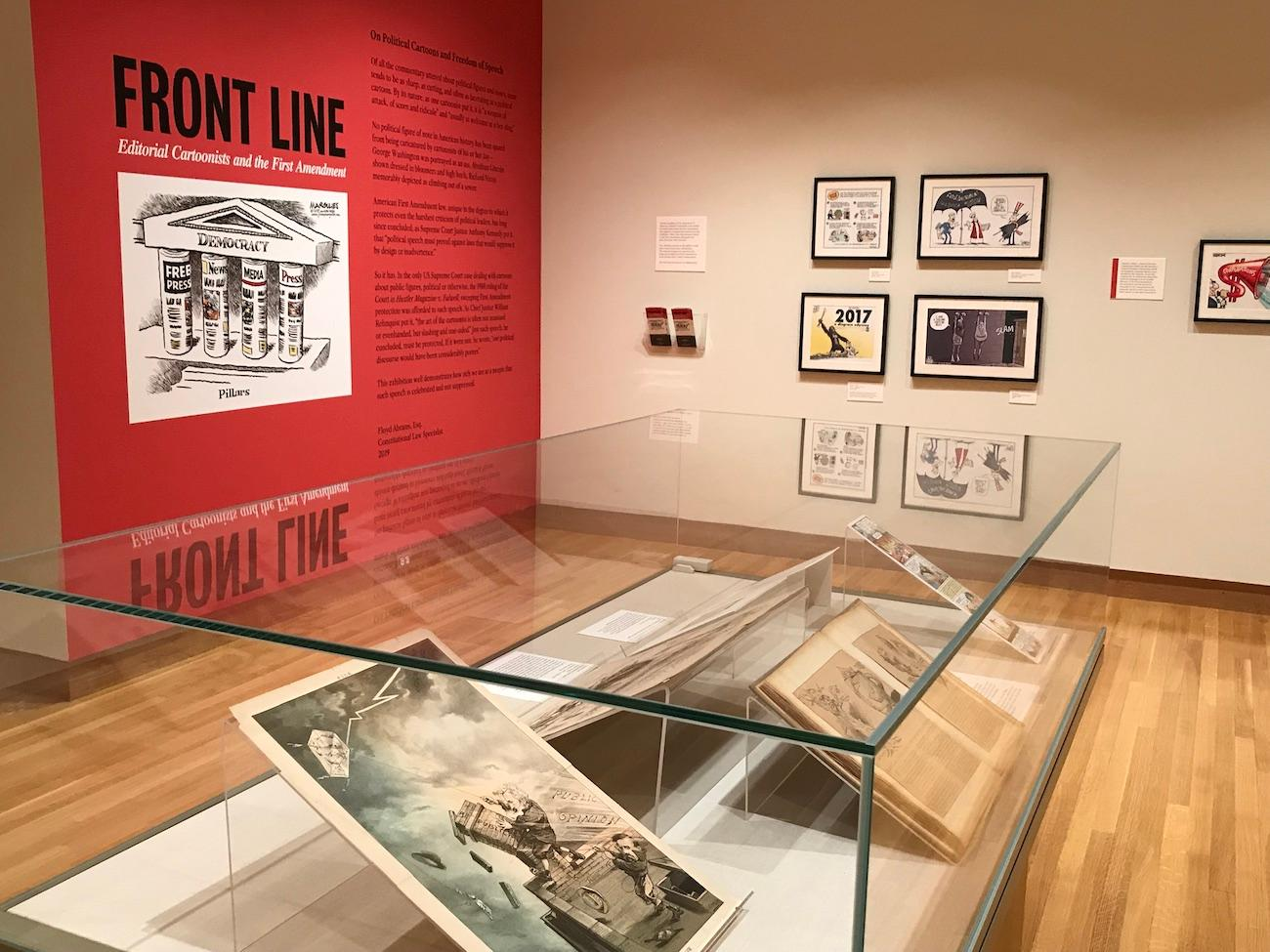 The 'Front Line' exhibit examines free speech through historical cartoons. / Image courtesy of the Billy Ireland Cartoon Library & Museum // Published: 7.1.19