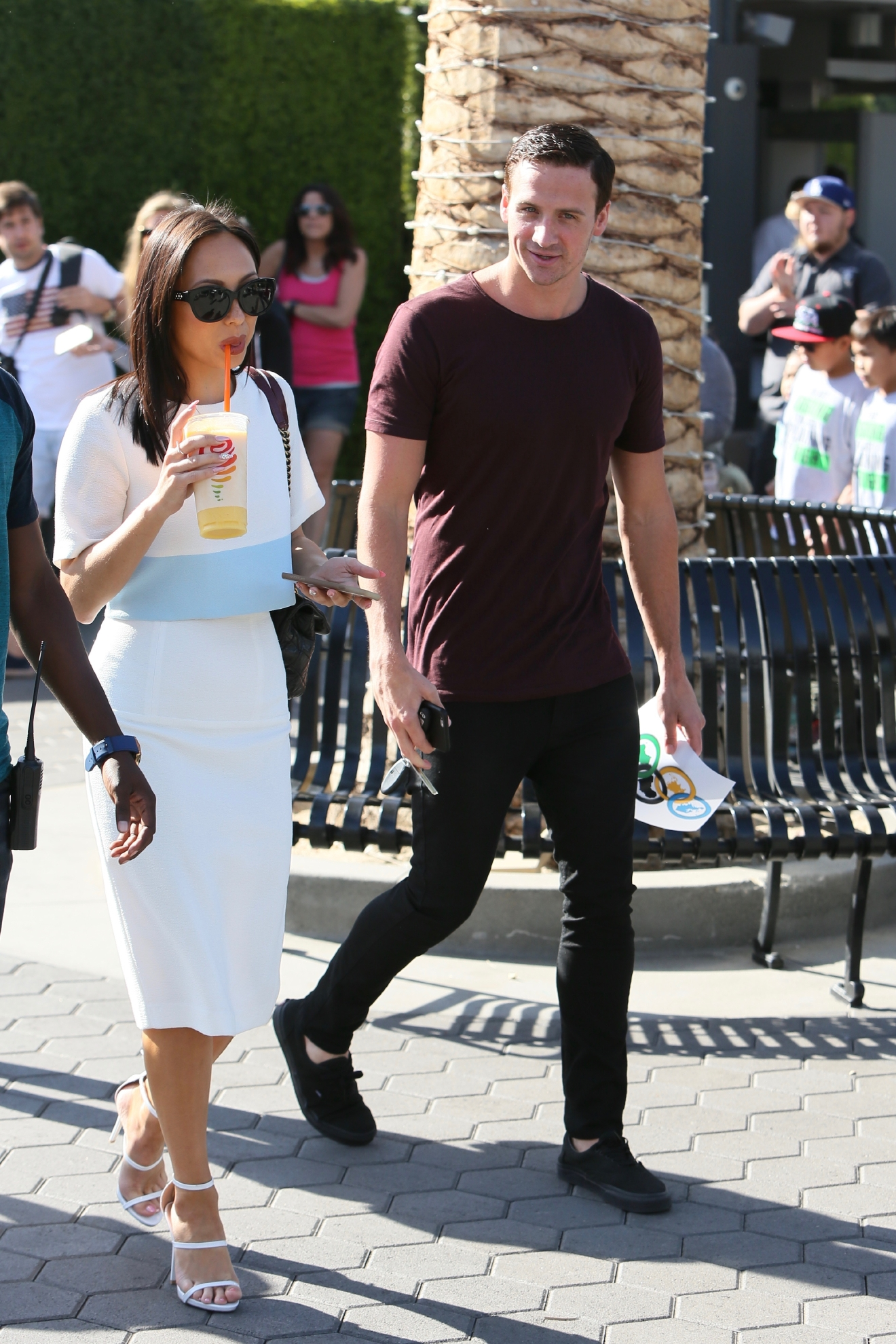 Ryan Lochte and Cheryl Burke seen at Universal studios where they were interviewed by Mario Lopez for television show Extra  Featuring: Cheryl Burke, Ryan Lochte Where: Los Angeles, California, United States When: 23 Sep 2016 Credit: Michael Wright/WENN.com
