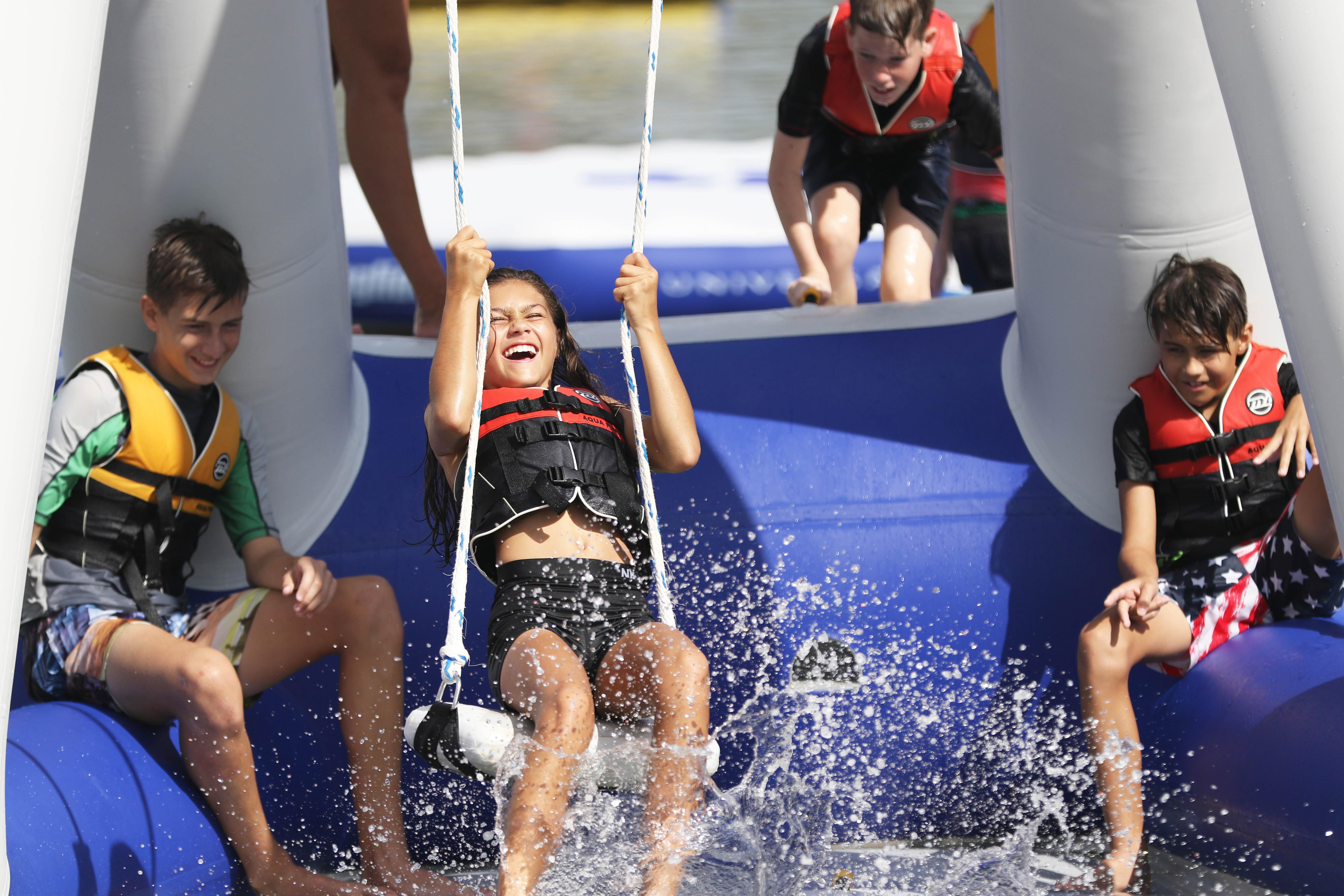 Kids enjoying a water park are shown (Photo courtesy of Water Warrior Island)