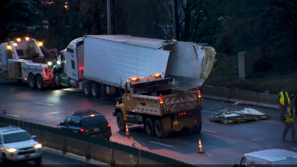 I-5 northbound lanes reopened after semi-truck carrying trail