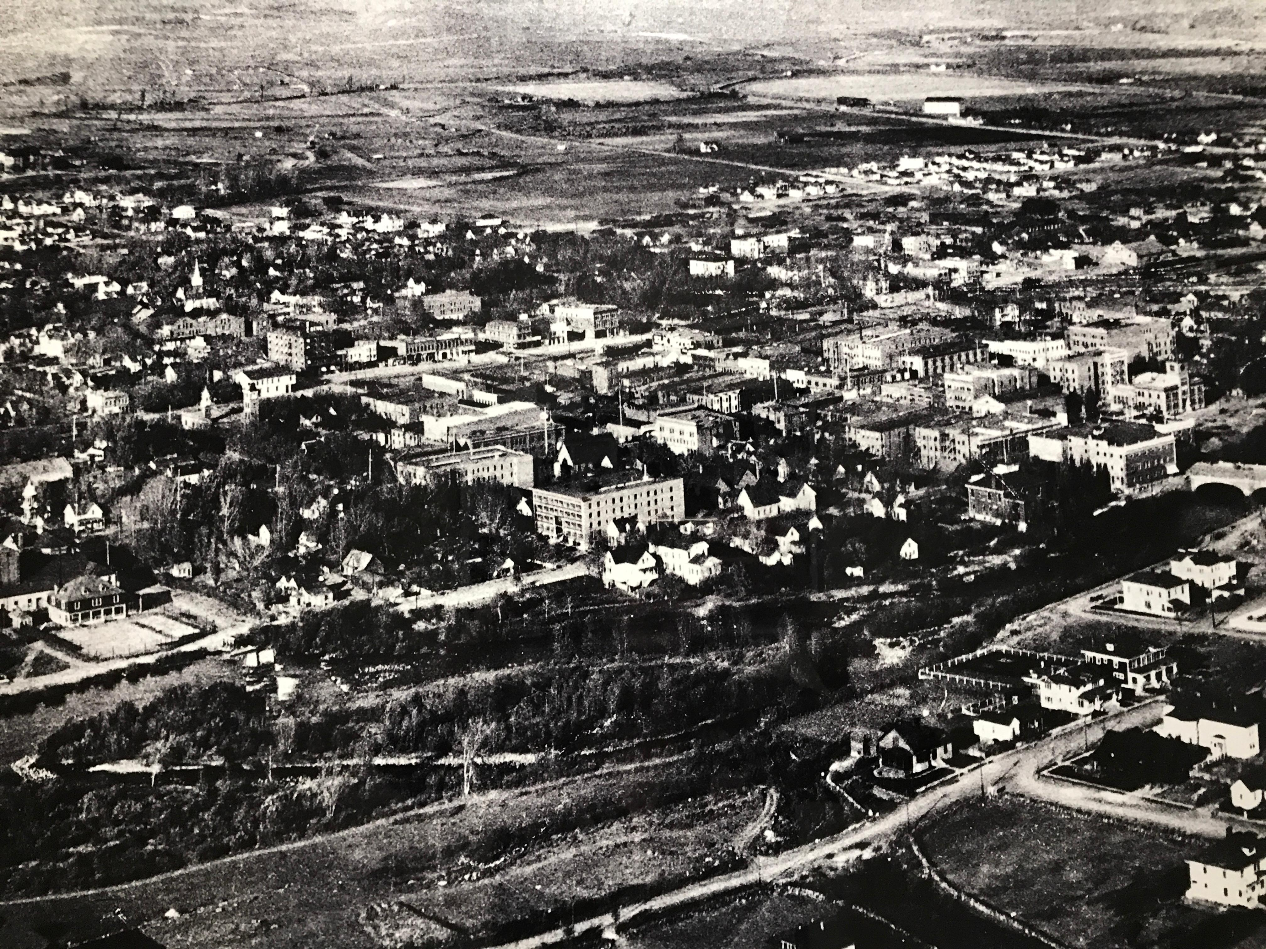 The central part of 1908 Reno is shown with this aerial photograph by George Lawrence -- famous for his San Francisco earthquake photograph -- done with a system of kits flying at 1,000 feet holding a 46-pound camera. Lawrence positioned the camera with its 22-inch by 55-inch roll of film above the ground on the kite cable. From 600 feet to 1,000 feet, box kites were spaced 50 feet apart to maintain the height of the camera. (Photo courtesy, Nevada Historical Society)