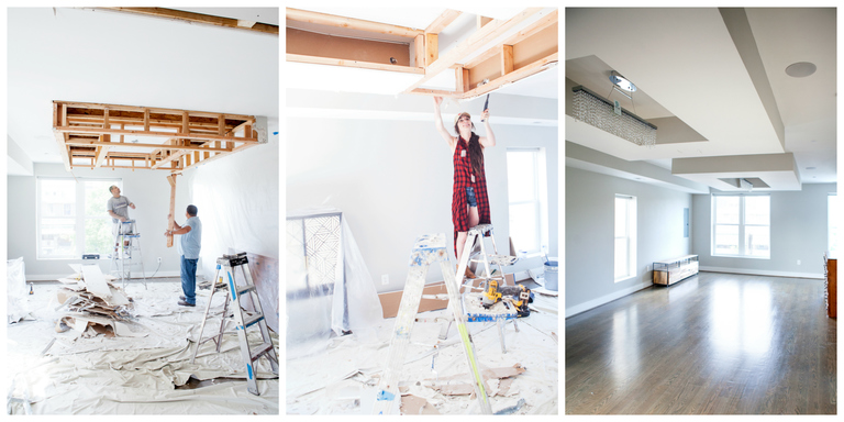 As soon as we signed on the dotted line and the Chic Villa was officially ours, I immediately wanted to put my stamp on the new house by putting holes in the walls. (Images: Ashley Hafstead)