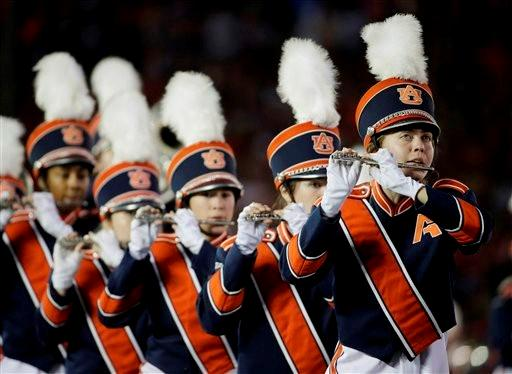 The Auburn band performs before the NCAA BCS National Championship college football game against Florida State Monday, Jan. 6, 2014, in Pasadena, Calif.