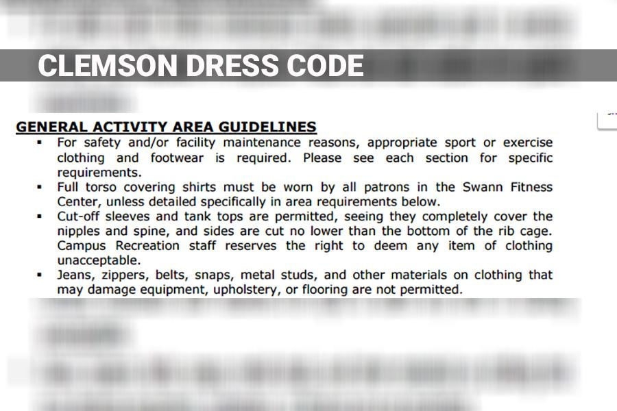 This image shows a screen grab of the gym dress code of Clemson University.