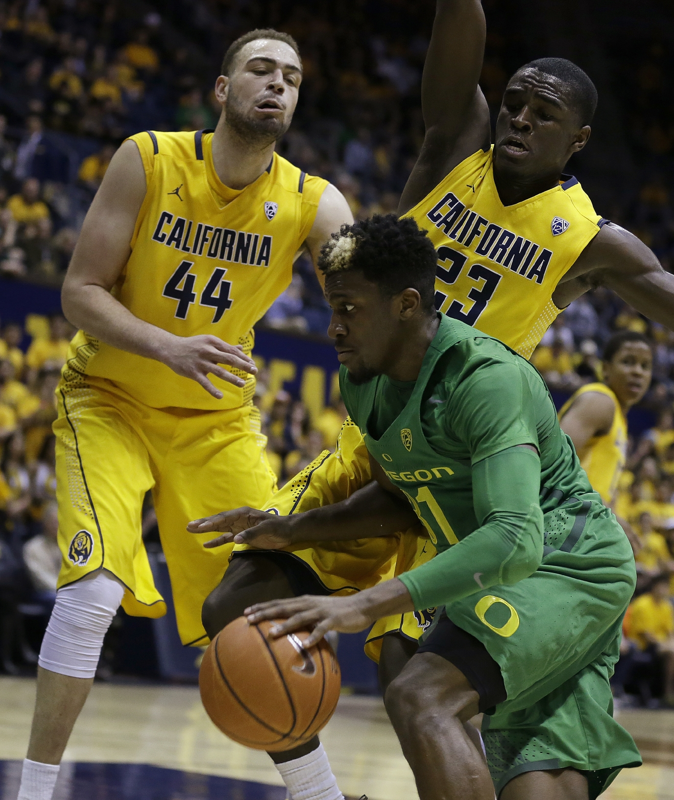 Oregon's Dylan Ennis, center, drives the ball between California's Kameron Rooks (44) and Jabari Bird (23) in the first half of an NCAA college basketball game Wednesday, Feb. 22, 2017, in Berkeley, Calif. (AP Photo/Ben Margot)