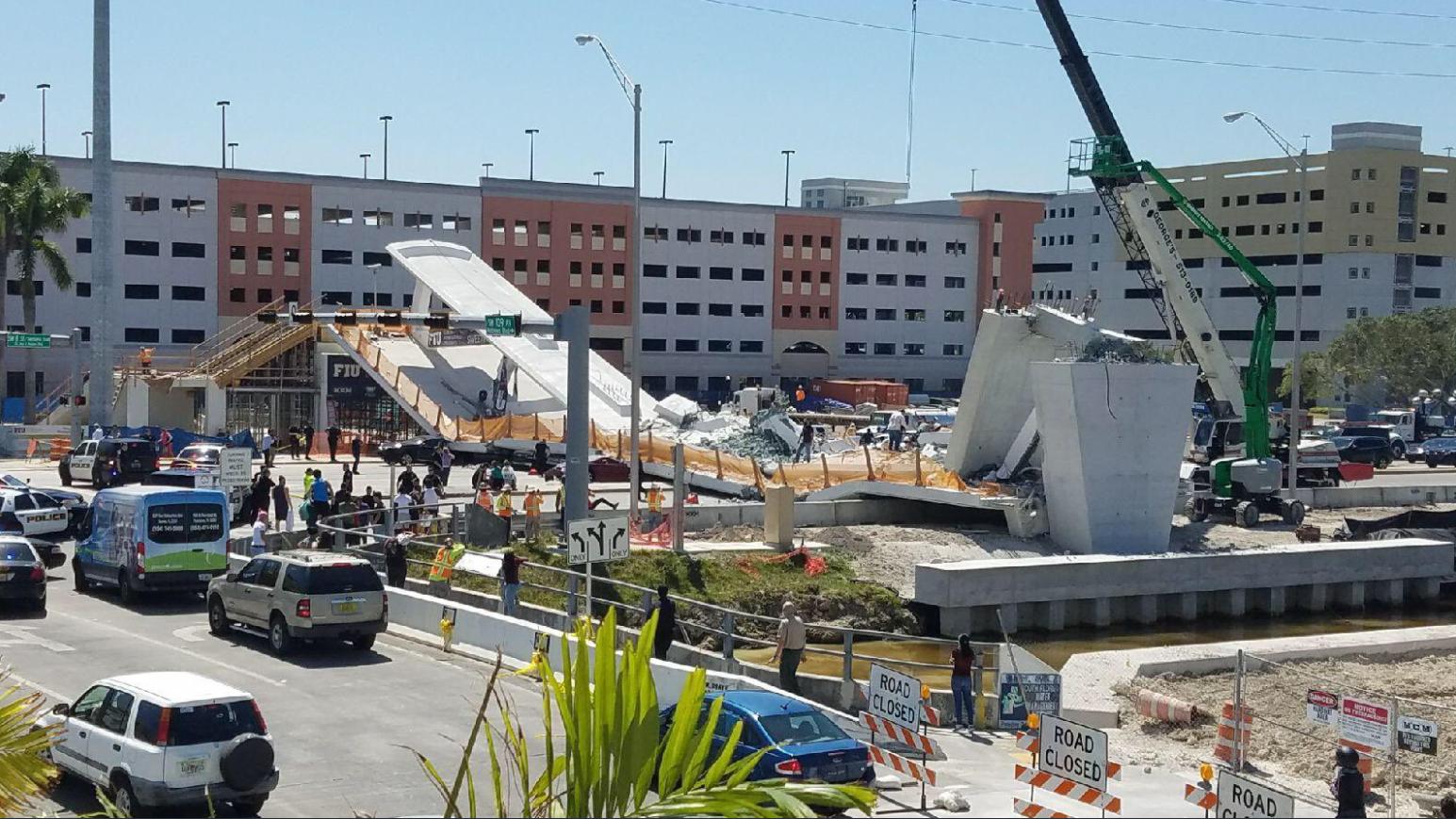 FIU students react to bridge tragedy, are left with horrifying images. (WPEC){ }{ }