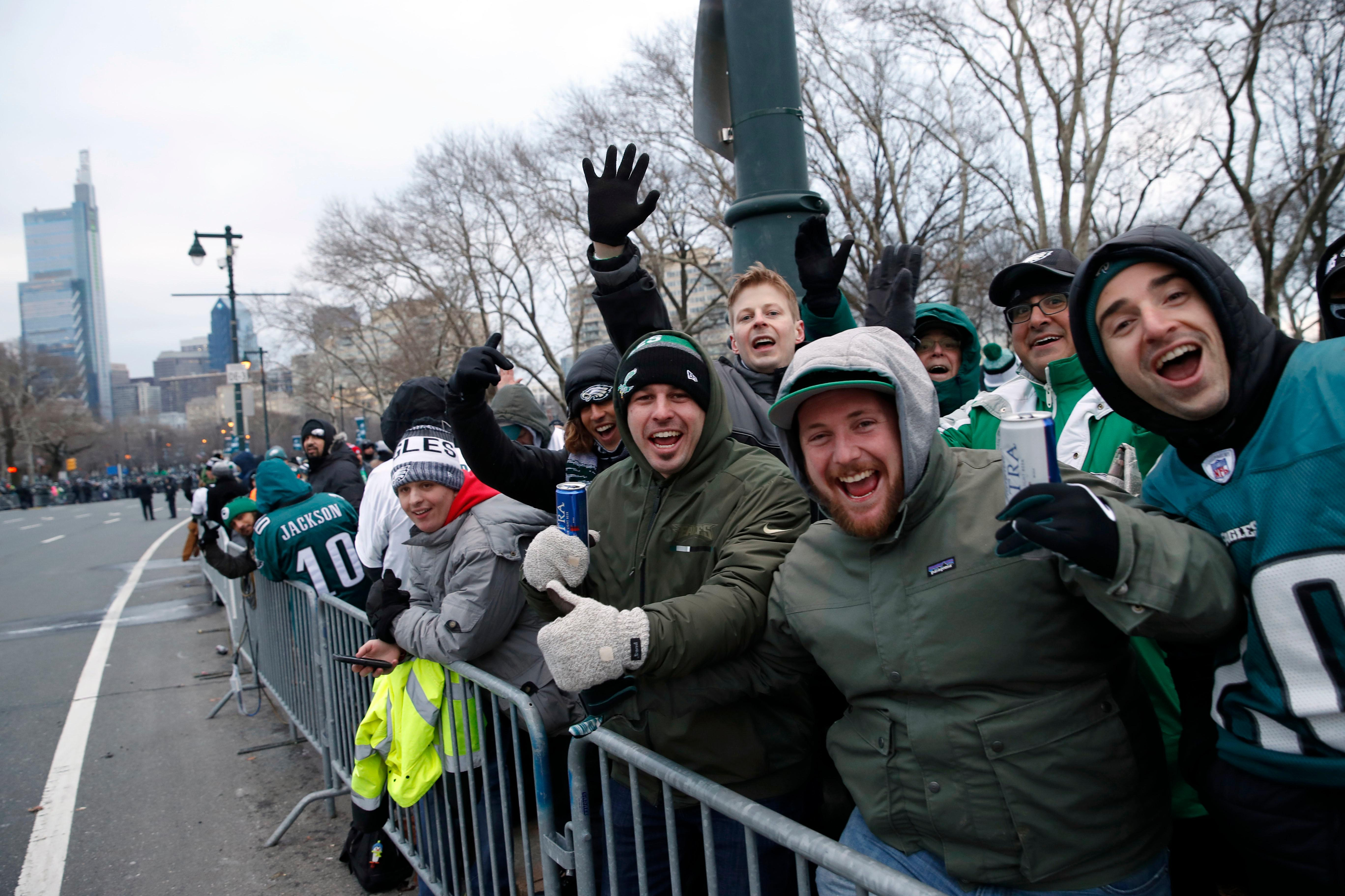 Fans line Benjamin Franklin Parkway before a Super Bowl victory parade for the Philadelphia Eagles NFL football team, Thursday, Feb. 8, 2018, in Philadelphia. The Eagles beat the New England Patriots 41-33 in Super Bowl 52. (AP Photo/Alex Brandon)