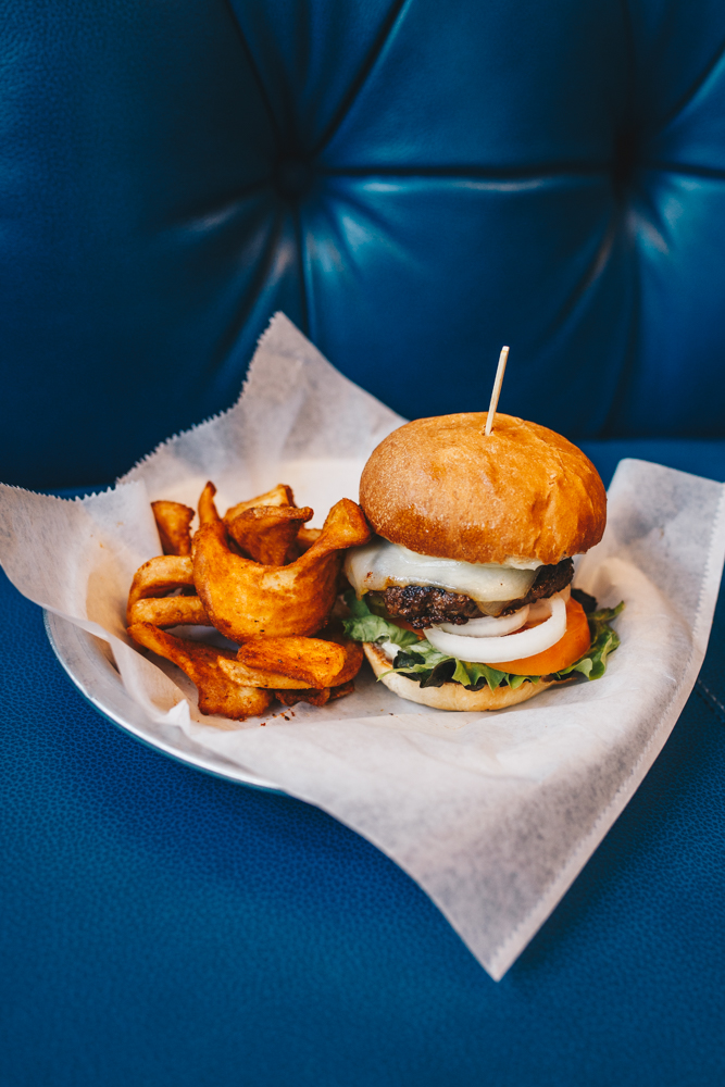 Turnpike burger: your choice of house-made beef patty or marinated portobello with greens, tomato, onion, and mayo and served with fries / Image: Catherine Viox // Published: 2.25.19