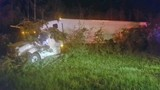 Single-vehicle crash injures tractor trailer driver in Escambia County