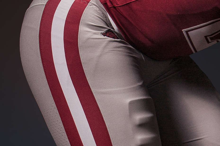 Razorback uniforms for Texas A&M game - lower pants (Arkansas Athletics)