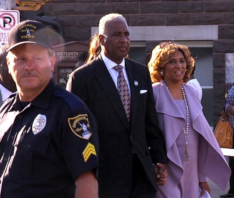 Mayor William Bell and his wife Sharon leaving 16th Street Baptist Church following a program commemorating the 50th anniversary of the 1963 bombing.