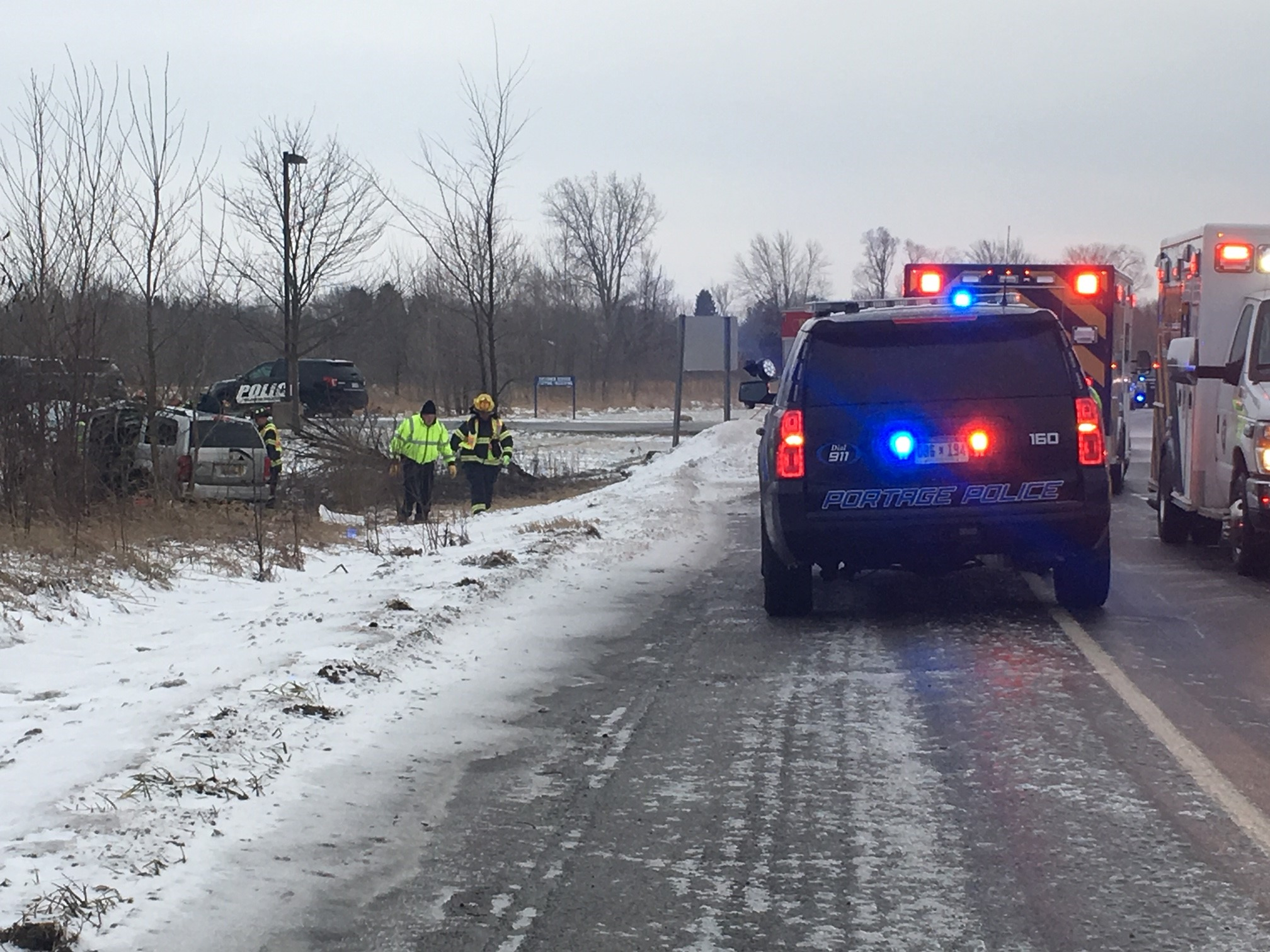 An accident near Sprinkle Road in Portage, where a minivan lost control and crashed. (WWMT/Mike Krafcik)