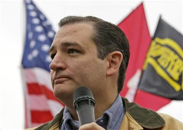 Tea Party Sen. Ted Cruz, R-Texas, speaks at a rally at the World War II Memorial on the National Mall in Washington Sunday, Oct. 13, 2013.