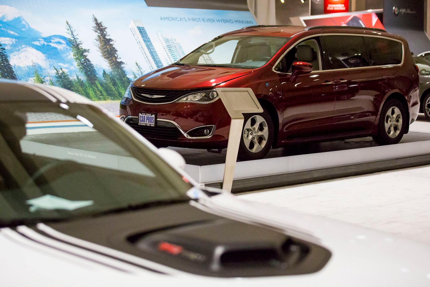 The Chrystler Pacifica Hybrid, the world's first electrified minivan, at the Seattle International Auto Show at the CenturyLink Event Center. (Sy Bean / Seattle Refined)