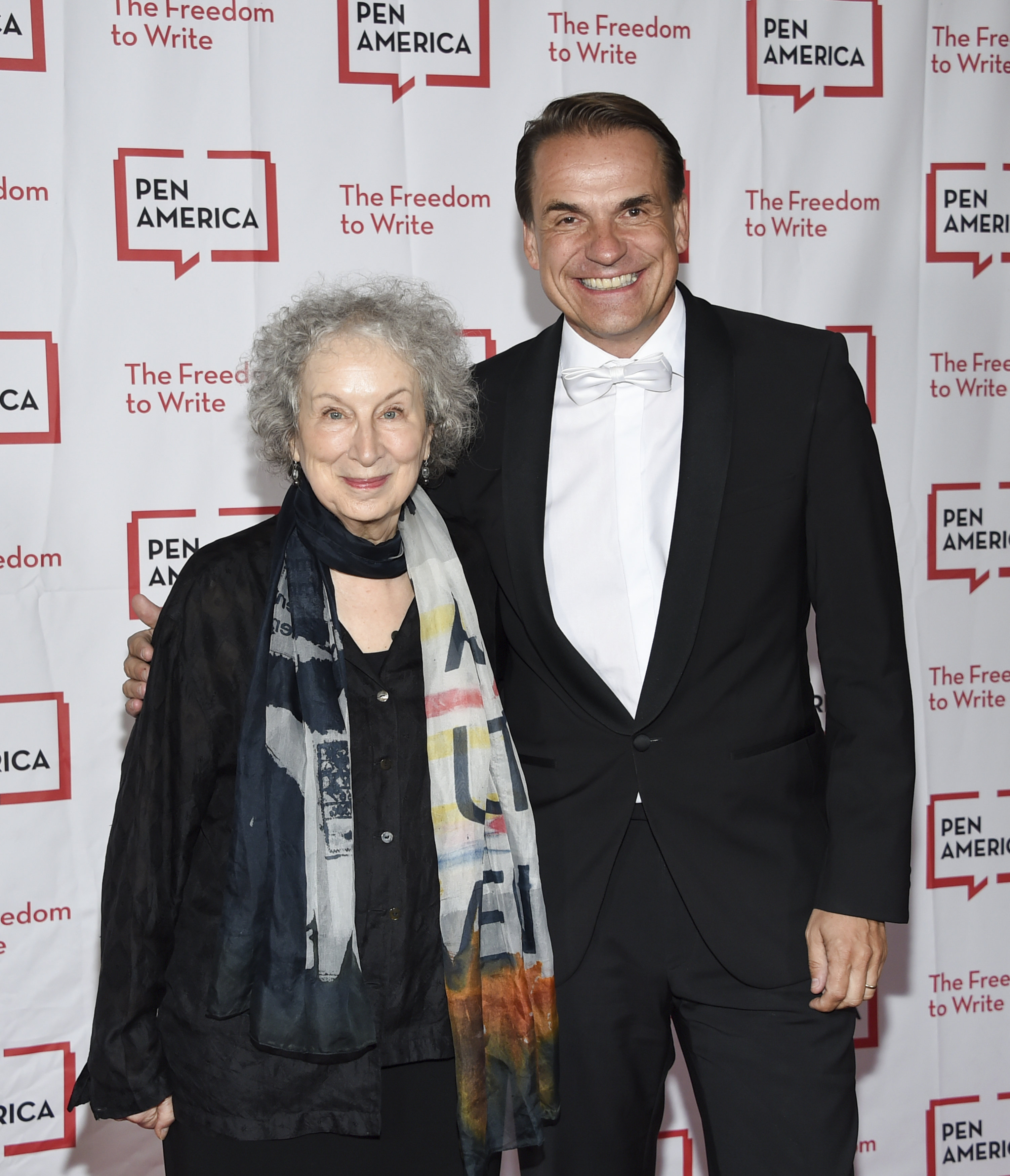 Author Margaret Atwood, left, and Penguin Random House CEO Markus Dohle attend the 2018 PEN Literary Gala at the American Museum of Natural History on Tuesday, May 22, 2018, in New York. (Photo by Evan Agostini/Invision/AP)