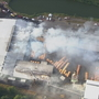Large fire burning at Lyons lumber company