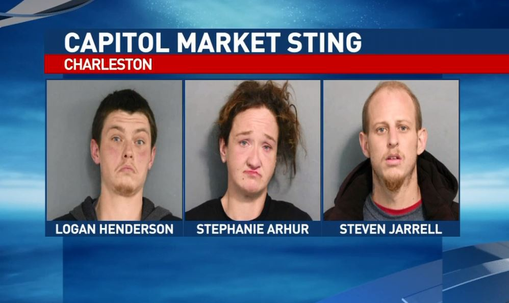 Charleston police say Logan Henderson, left, Stephanie Nichole Arthur and Steven Michael Jarrell are among 10 people who face charges after a sting Thursday in the Capitol Market/Smith Street area. (Charleston Police Department)