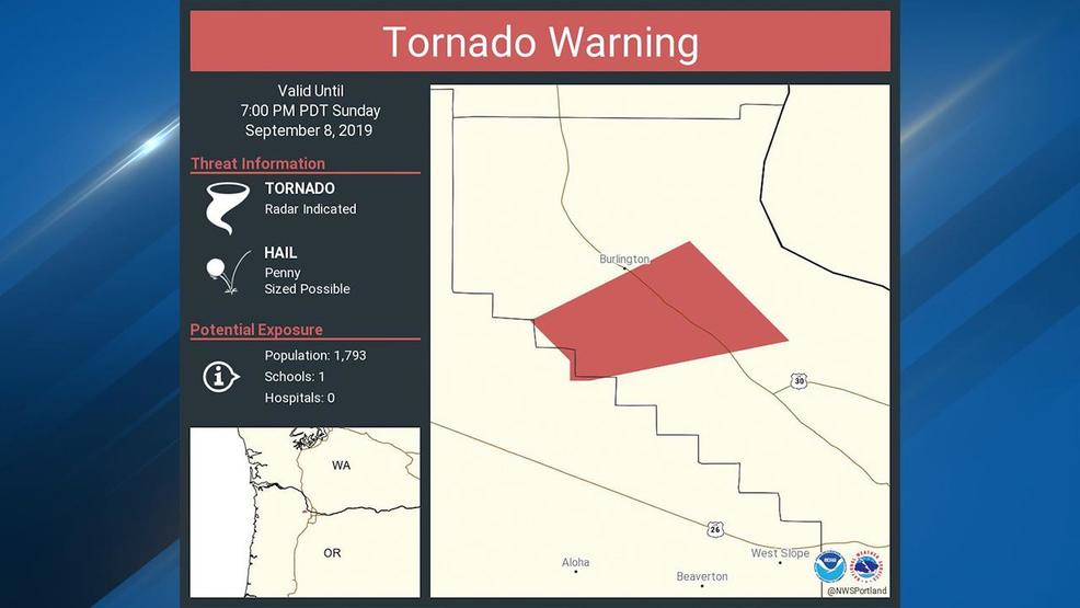 NWS briefly issues Tornado Warning in Multnomah County on Sunday evening