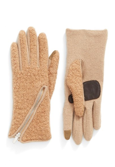 Echo 'Touch - Zip Bouclé' Tech Gloves ($39.00). Find on nordstrom.com. (Image: Nordstrom)