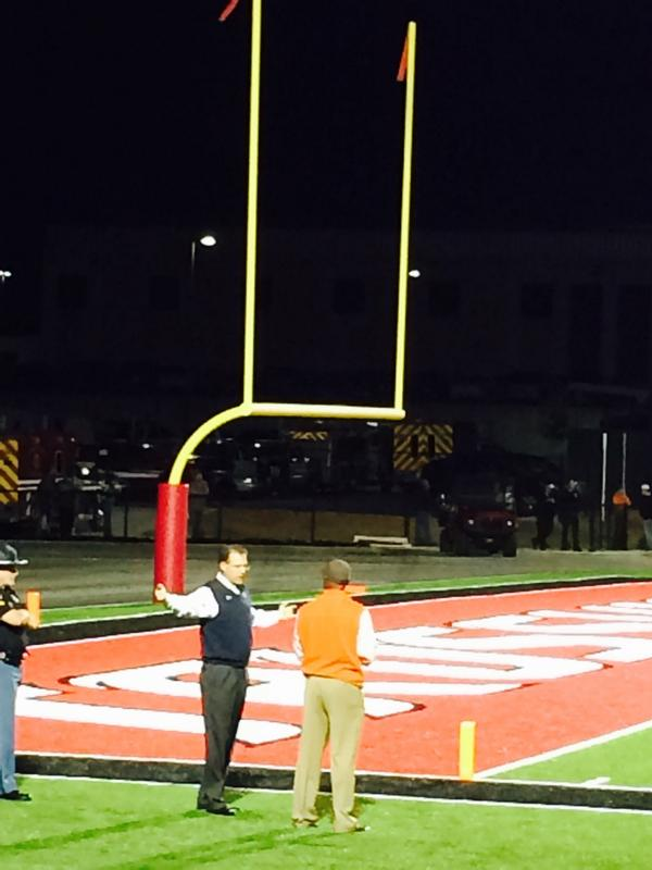 Auburn head coach Gus Malzahn watches the Blitz Game of the Week between Hoover and Hewitt-Trussville at Huskies Stadium, Friday, Oct. 24, 2014.
