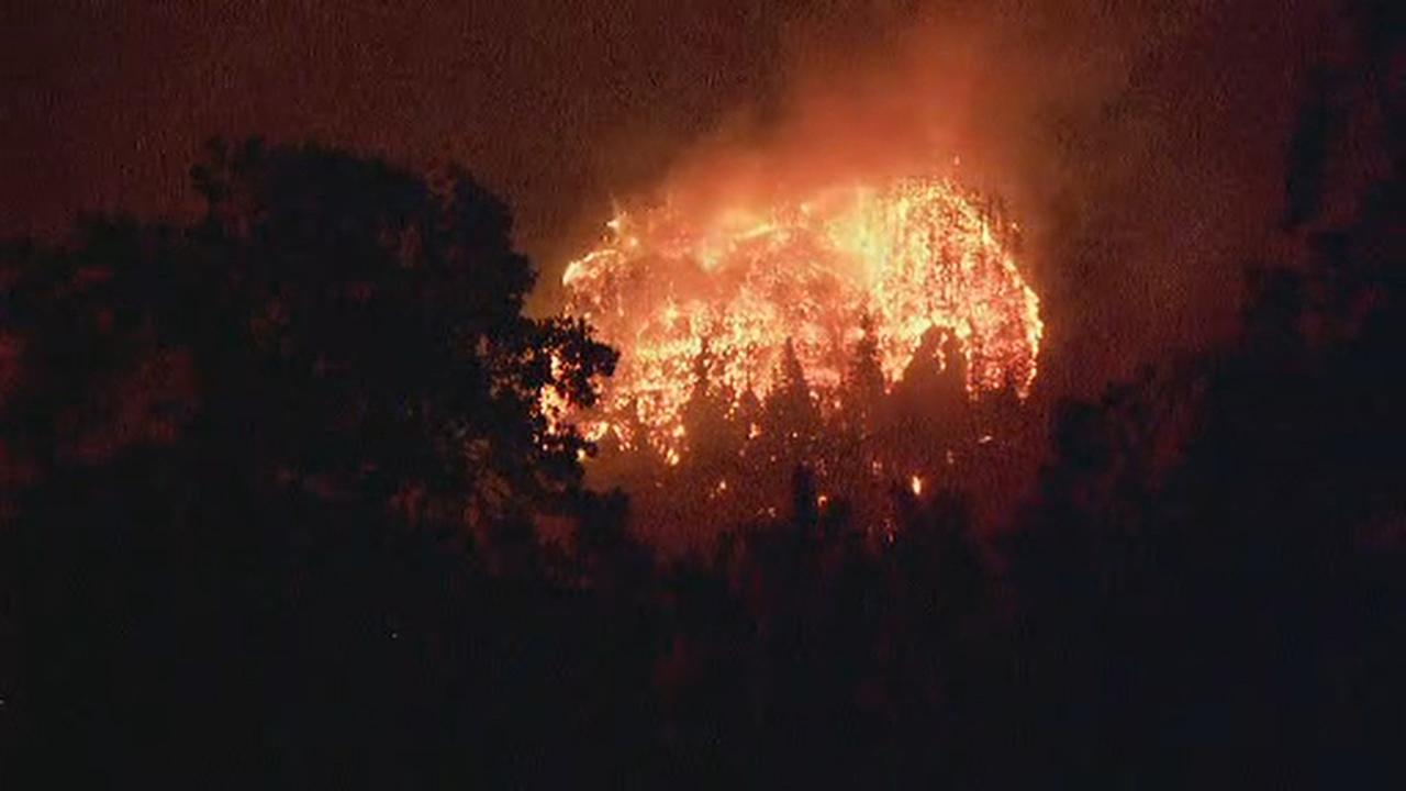 Flames rip through the trees in the Columbia River Gorge Monday night, Sept. 4, 2017 as the Eagle Creek Fire explodes into a 4,800-acre inferno. (KATU Photo)