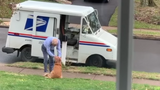 Golden retriever forms unexpected bond with mailman