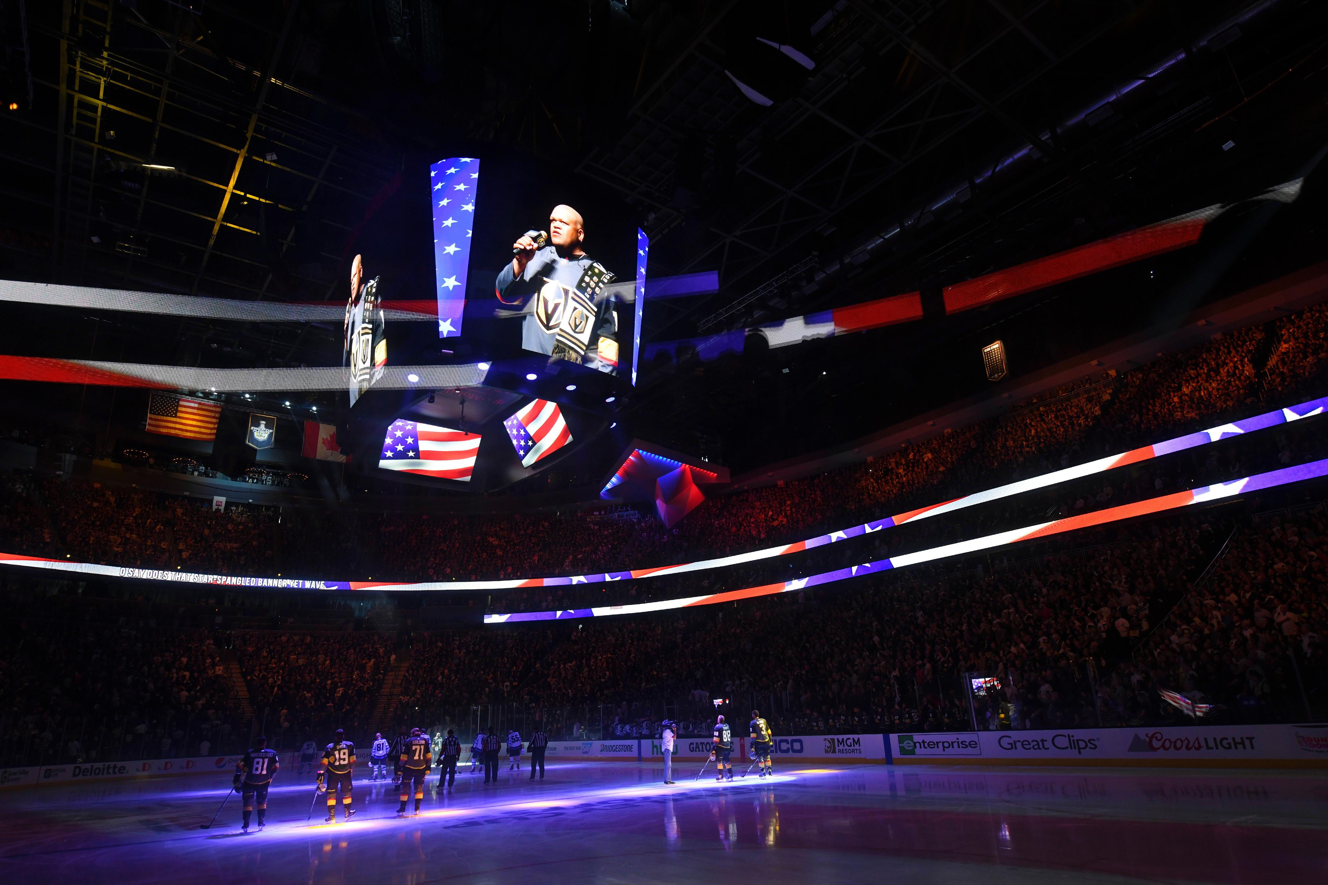 Carnell Johnson is projected on a video screen while singing the national anthem before Game 3 of the Vegas Golden Knights NHL hockey Western Conference Final game against the Winnipeg Jets Wednesday, May 16, 2018, at T-Mobile Arena. CREDIT: Sam Morris/Las Vegas News Bureau