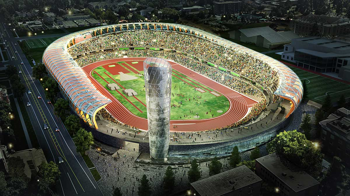 The University of Oregon says work will begin in June on a renovation of Hayward Field, to be completed in 2020. The plans include a 165-foot, 9-story tower named in honor of Bill Bowerman, the coach who brought Steve Prefontaine to campus and helped Phil Knight launch Nike. The work will be funded by Penny and Phil Knight and more than 50 other donors. (Courtesy UO)