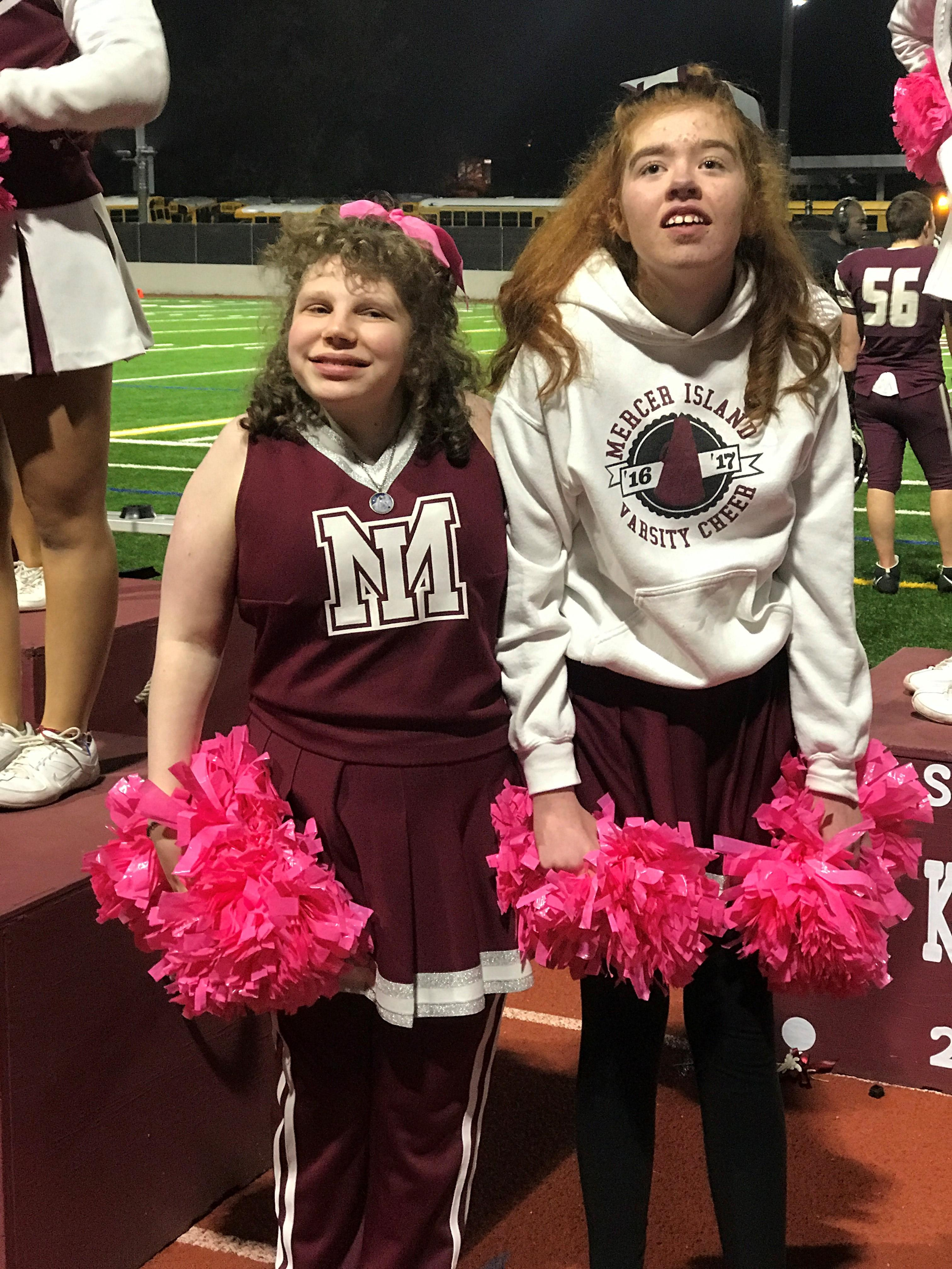 Sparkle Squad is a cheer squad at Mercer Island High School.{ } The teens (with and without disabilities) work together and cheer at games, assemblies, parades and special events in the community.{ } Jami Blumenstein is their coach.{ }(Image Jeff Pimentel /Sparkle Squad)