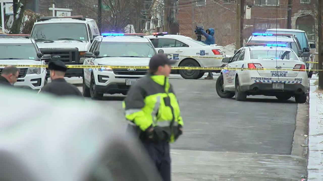 Four people are injured after a drive-by shooting Wednesday morning in Southeast D.C., police say.  The shooting occurred less than a mile away from a press conference being held by Mayor Muriel Bowser and MPD about another shooting in the community. (Photo, ABC7)